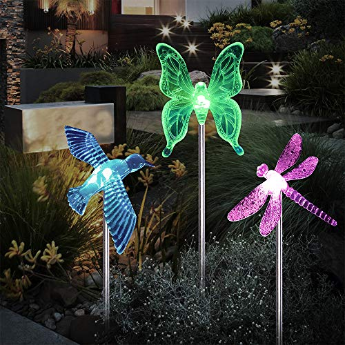 Landscape Lighting Path Lights Solar Garden Stake Lights Outdoor Decorative Garden Stakes Color Changing Solar Powered LED Pathway Lights for Lawn Garden Yard by Lucky Rain