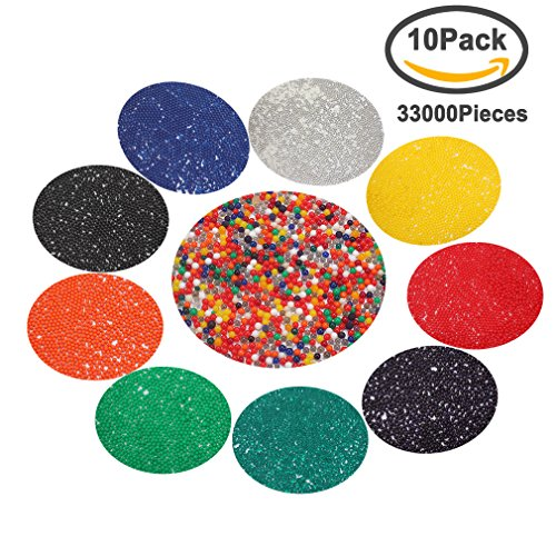 Amariver Water Beads Rainbow Mix, 10 Pack(Approx 33000 Beads) Kids Water Gel Beads for Orbeez Refill, Vase Filler, Plants Decoration, Tactile Toys, Sensory Toys, 10 Colors, Rainbow Water Beads Mix Bouncy Balls