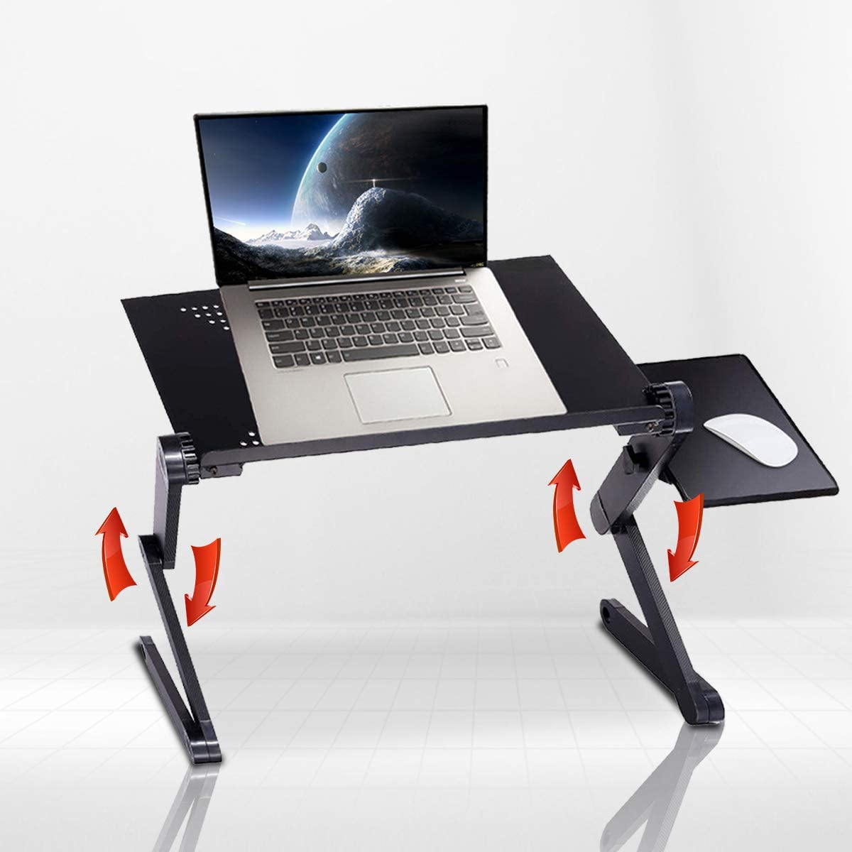 Adjustable Laptop Table Stand, Portable Laptop Workstation Stand, Foldable Aluminum Alloy Ergonomic Office Laptop Desk with USB Large Cooling Fan and Mouse Pad for Bed Cozy Sofa Couch Lap