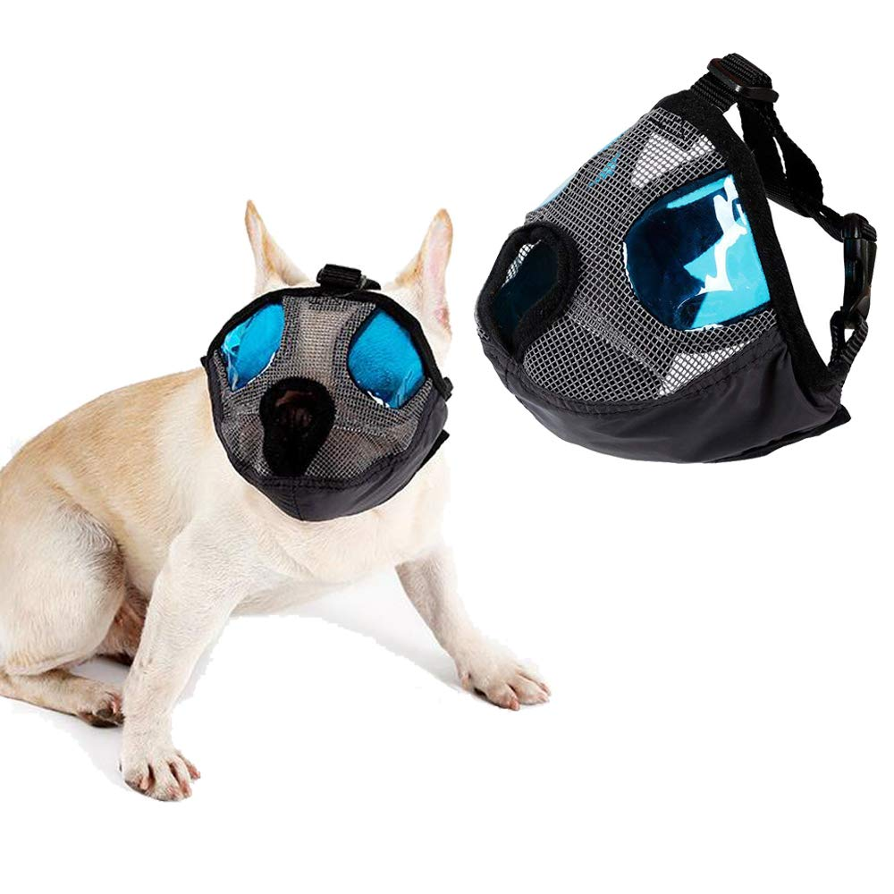 Grey L Grey L Petneces Dog Muzzle for Barking Puppy Mask Anti Barking and Biting with bluee Cool Eyes Cover Muzzle for Small Medium Large Size Dog
