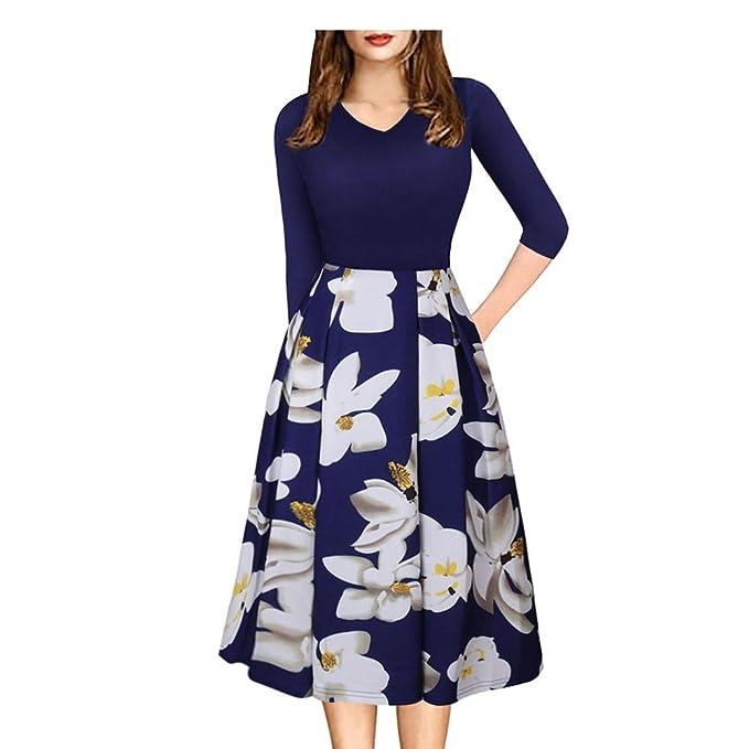 Exlura Vestido para Mujer Vintage de Patchwork Vestido para Mujer con Bolsas Cómodo Swing Vestido Casual