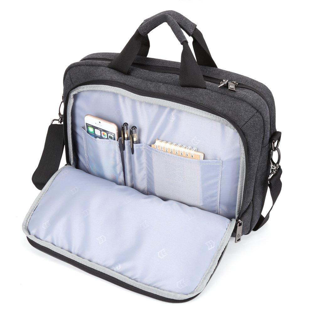 13.3 inch Laptop Messenger Bag, Evecase 13.3'' - 14'' Canvas Messenger Bag - Dark Grey w/Handles, Shoulder Strap for laptops, Samsung ultrabooks, Apple MacBook, Microsoft, Sony Tablet PC by Evecase (Image #3)