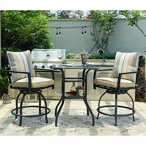 LOKATSE HOME 3 Piece Bistro Set Outdoor Bar Height Swivel with 2 Patio Chairs and 1 Glass Top Table, White and Black (Height Sets Outdoor Counter)