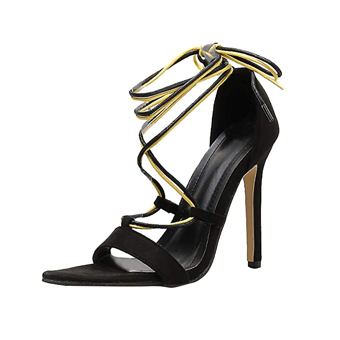 Womens Sandals High Heel Strappy Ankle Summer Black Party