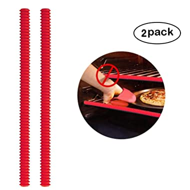 Silicone Oven Rack Shields - 2PCS Oven Shelf Rack Guard - Heat Resistant Silicone Edge Liner Cover, Oven Rack Protectors , Oven Accessories to Protect Against Burns and Scars when Baking (Red)