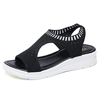 5a7cdeefc HKR-XQS808heise35 Women Mesh Wedges Platform Sandals Breathable Open Toe  Slip On Comfort Walking Sandals