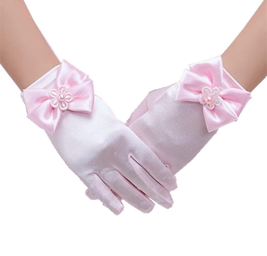 H.X Girls Wrist Length Satin Formal Pageant Party Gloves