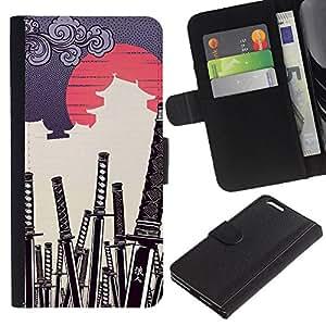 Apple (5.5 inches!!!) iPhone 6+ Plus , la tarjeta de Crédito Slots PU Funda de cuero Monedero caso cubierta de piel (Japanese Samurai Katana Cemetery)