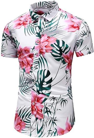 Camisa Hawaiana Hombre, Dragon868 Floral Impresión Camisas, Botón Informal Abajo Slim Fit Shirts, Impresión de Hawaii, Diseño de Palmeras Blusa Tops, Tallas Grandes, M-6XL: Amazon.es: Ropa y accesorios