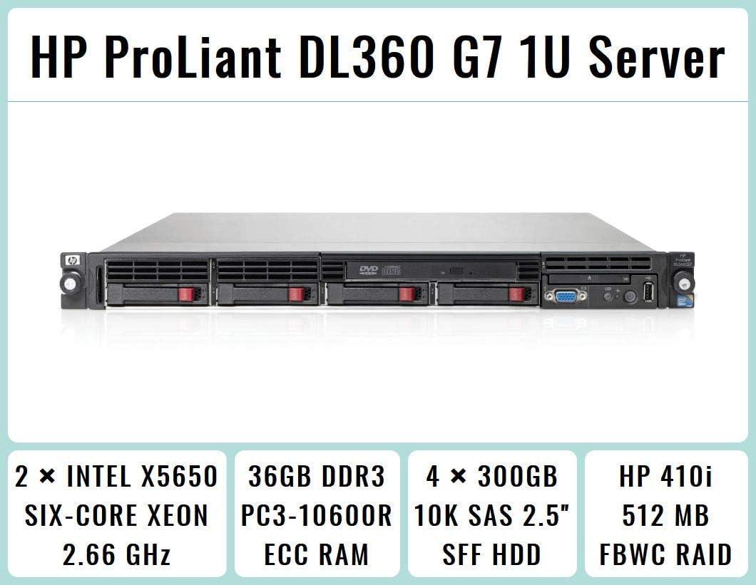 "HP ProLiant DL360 G7 1U RackMount Server with 2xSix-Core X5650 Xeon 2.66GHz CPUs + 36GB PC3-10600R DDR3 RAM + 4x300GB 10K SAS 2.5"" SFF HDD, P410i RAID, DVD-ROM, 4xGigaBit NIC, 2xPower Supplies, NO OS"
