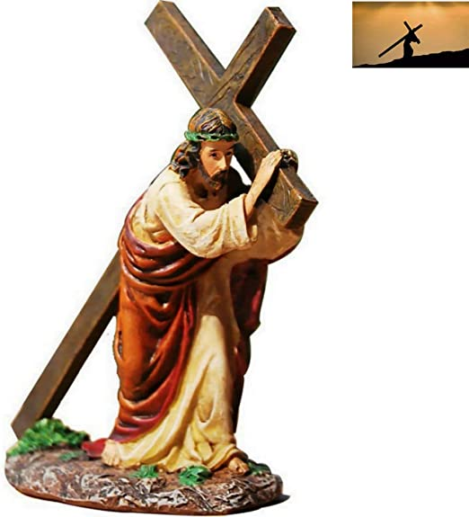 Resin Christ Cross Hand Religious Ornament Sculpture Good Blessings