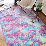 Junovo Home Decorative Rainbow Style Area Rug, No-Slip Fluffy Thick Shaggy Rugs Kids Playing mats Bedroom Living Room Outdoor Playing,3.9'X4.8' (120cmX145cm)