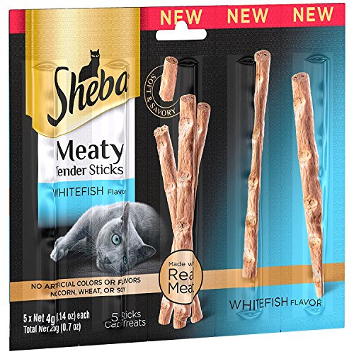 Sheba Meaty Tender Sticks Whitefish Flavor 5-Sticks Cat Treats 0.07oz (1 Pack) (Fish Sticks Treat)