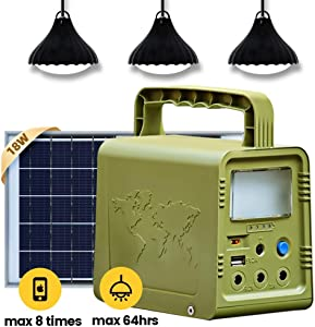 ECO-WORTHY 84Wh Portable Solar Generator Lighting Kit System, Power Station with Solar Panel and LED Lamp for Outdoor Camping, Fishing, Hunting, Home Emergency Power Supply, Hurricane, Power Outage