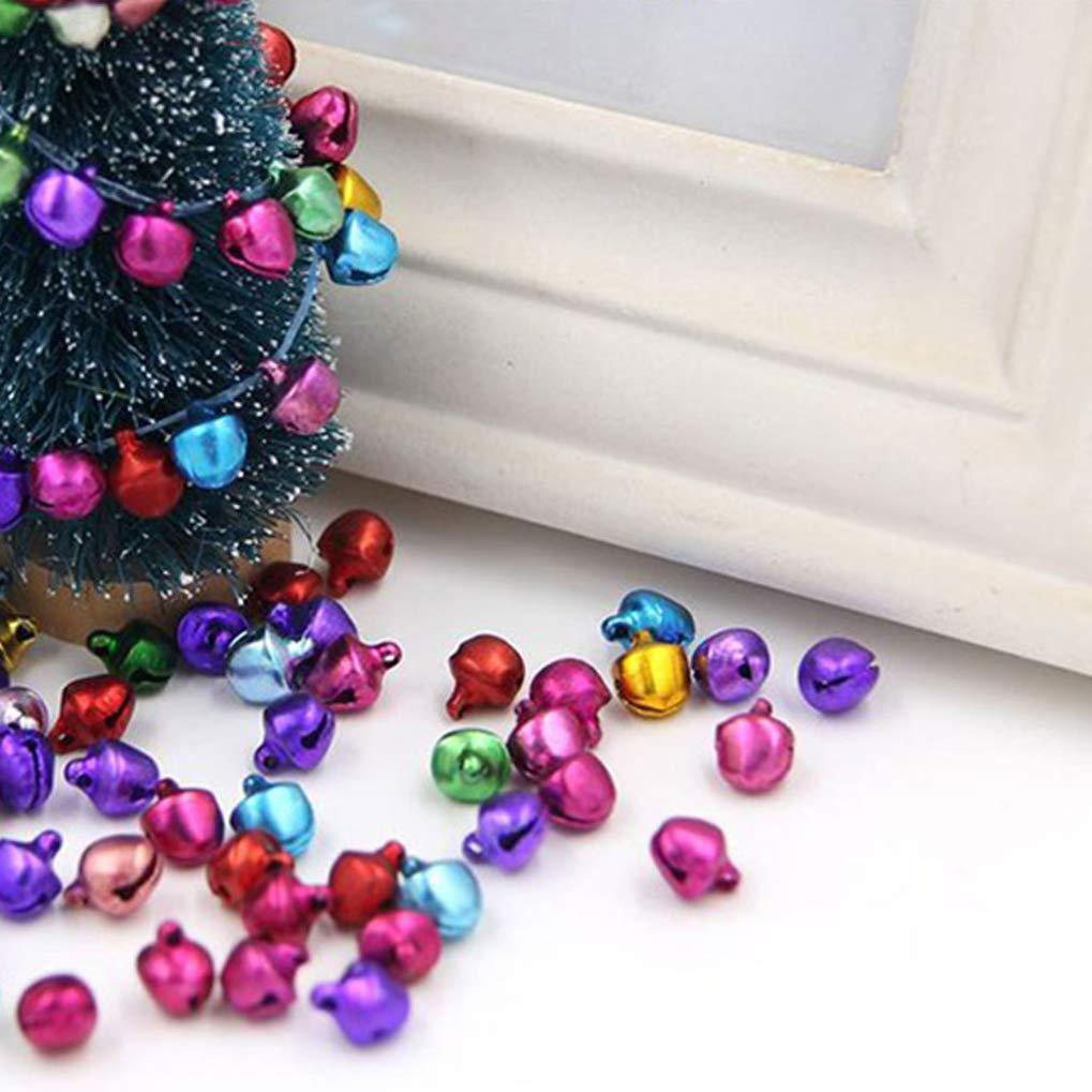 Poualss 100 Pezzi Campanellini con Occhielli Sonagli Colorati 6 MM Campane Decorative Campane di Natale Jingle per la Decorazione della Festa Nuziale del Festival