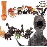 7TECH Simulation Plastic Animal Dinosaur Figures 8 Pcs With Mini Jungle 12 Pcs Soft Toy For Kids