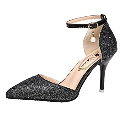 38260ca0298b Cywulin Women s Glitter Rhinestones Fashion Closed Pointed Toe High Heel  Party Work Pump Ankle Strap Sexy