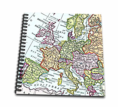 3dRose db_112938_1 Vintage European Map of Western Europe-Britain Uk France Spain Italy Etc-Retro Geography Travel-Drawing Book, 8 by 8-Inch (Retro Art Paper Scrapbooking)