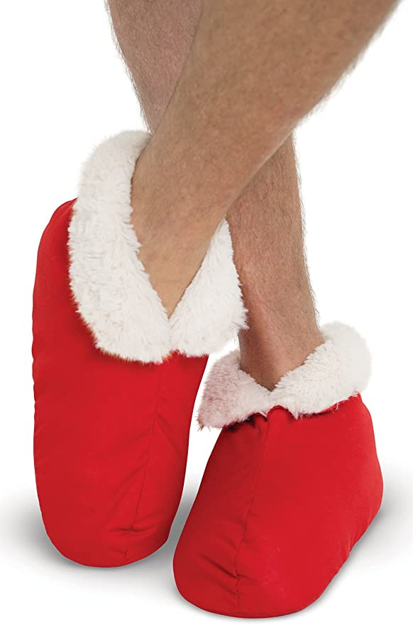 Red PajamaGram Faux Shearling Soft Mens Bootie Slippers