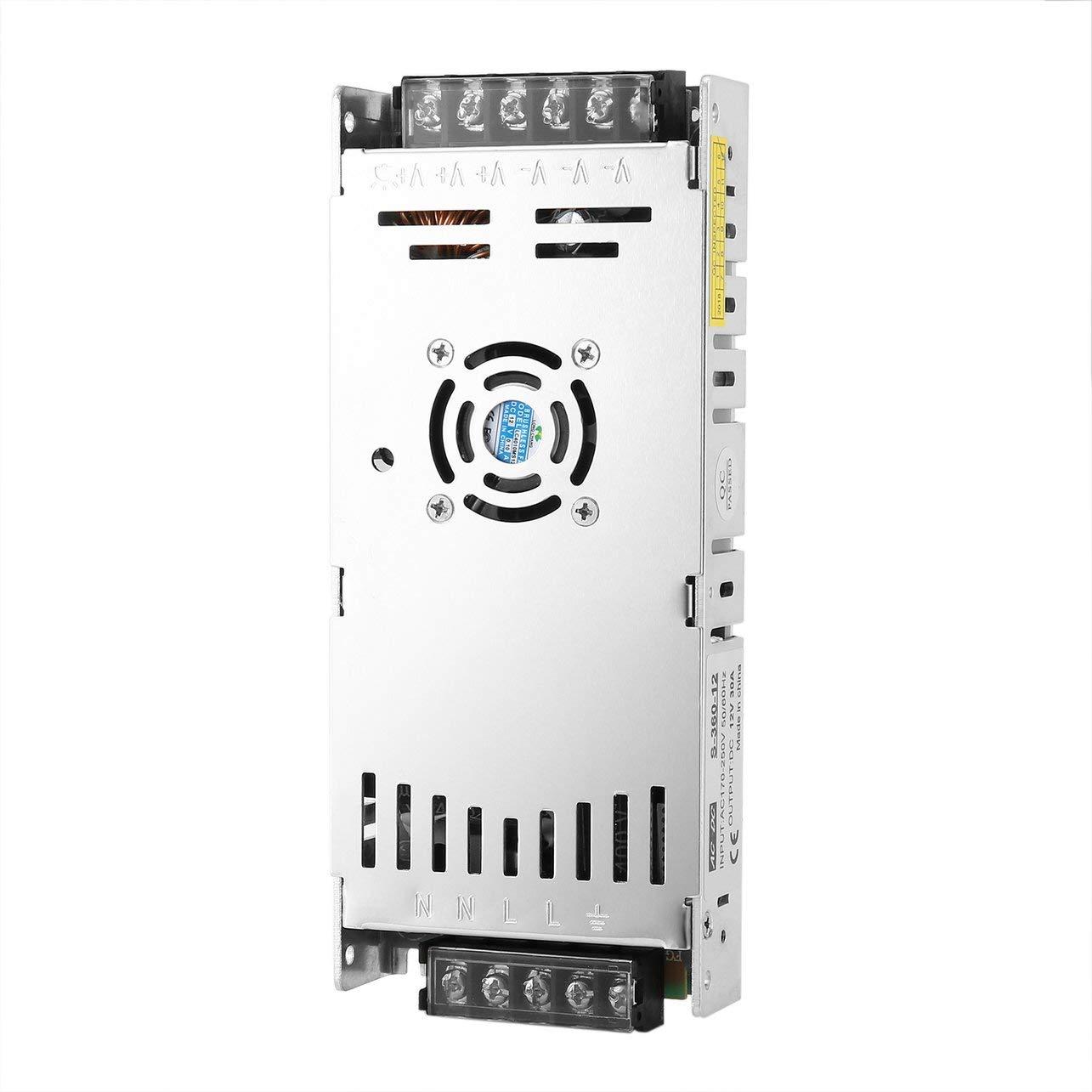 Switching Power Supply,Ultrathin 12V 30A 360W AC-DC Switching Power Supply LED Driver DC Transformer AC170V-250V 50//60Hz for LED Strip Lights