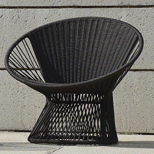 Jan Kurtz Lounge Sessel RAY , Gestell: Alu pulverbesch. Sitz: Seil schwarz 6 mm aus 100 % Polyester