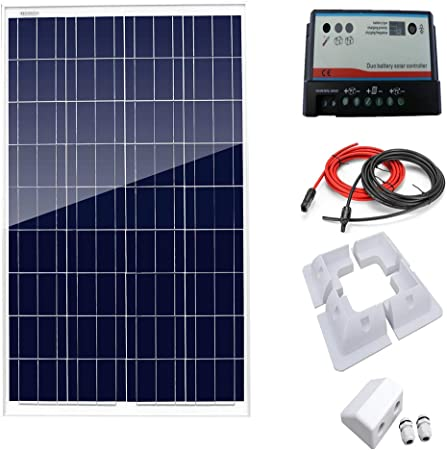 Amazon Com Auecoor 100w 12v Solar Panel Kit With 10a Dual Battery Solar Charge Controller Cable Entry Gland Mounting Brackets Cables For Rv Boat Off Grid System Garden Outdoor