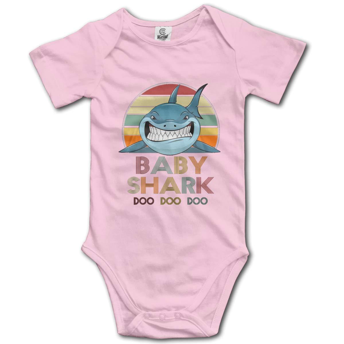 PORRO Baby Boy Girl O-Neck Short Sleeve Bodysuit Baby Shark Funny Doo Doo Clothing Funny Crawling Suit Black
