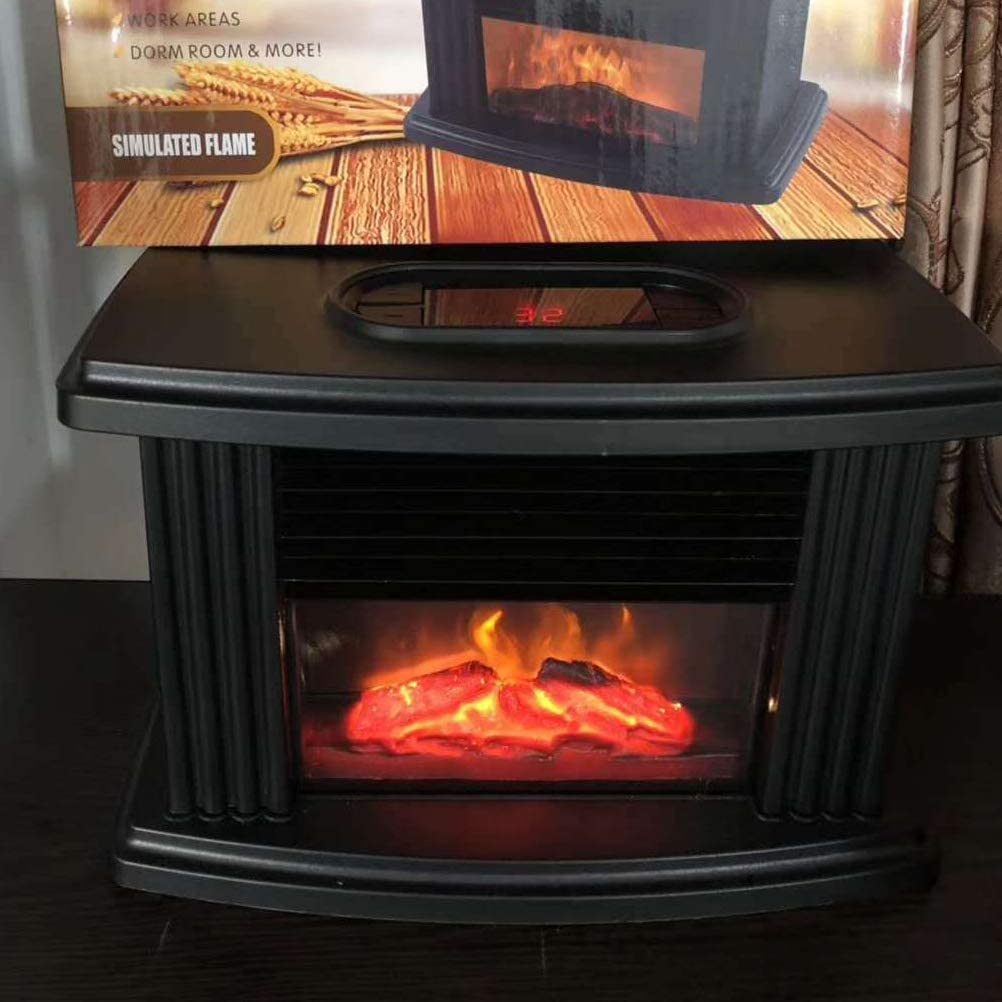 Mini calentador port/átil de sobremesa con chimenea el/éctrica de 1500W