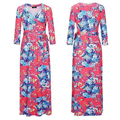 Collar Mujer Vestido Vestidos Largo Color Vestido Mujer Fiesta De Gules Femeninos Para JIALELE Cintura V Fiesta De S7Cgqqw