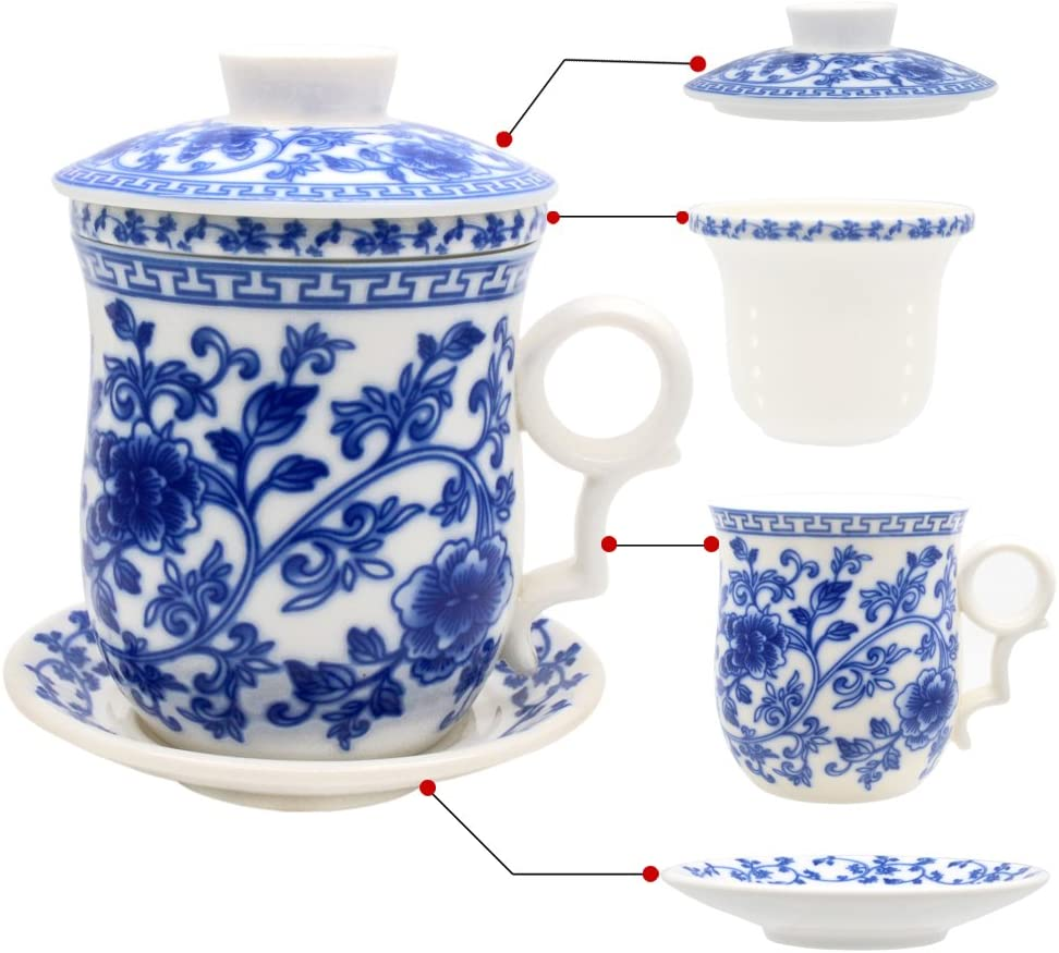 Porcelana taza de té con tapa y platillo infusor Sets - Fino