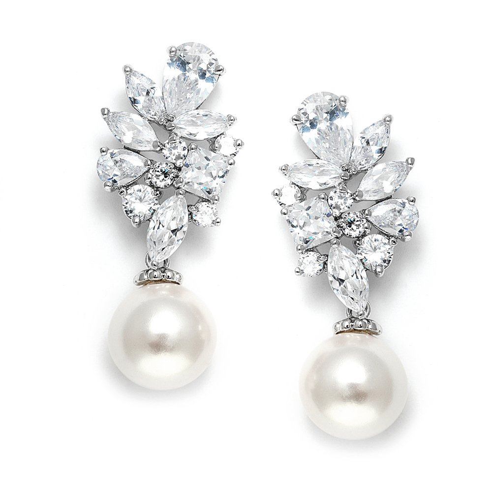 Mariell Bold CZ Cluster Wedding Bridal Earrings with Light Ivory Pearl Drops - Genuine Platinum Plated by Mariell