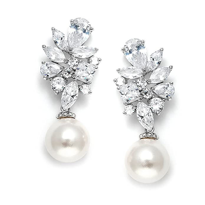 Vintage Style Jewelry, Retro Jewelry Mariell Bold CZ Cluster Wedding Bridal Earrings with Light Ivory Pearl Drops - Genuine Platinum Plated $29.99 AT vintagedancer.com