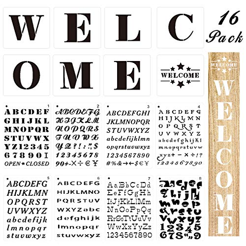 Welcome Stencils - 8 Large Welcome Sign Letter Templates for Painting on Wood Plus 8 Alphabet Stencils with Numbers and Signs, Reusable Plastic Art Craft Stencils for Hotel Sign & Home Decoration