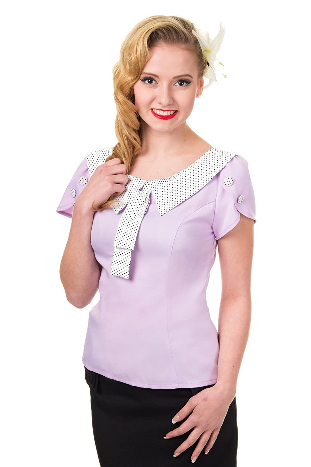 1930s Style Blouses, Shirts, Tops | Vintage Blouses Banned Apparel - Two Hearts Shirt $38.78 AT vintagedancer.com