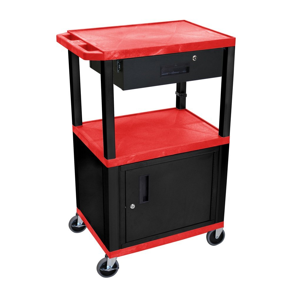Luxor 42'' Multipurpose Tuffy AV Cart with Drawer and Cabinet - Red and Black