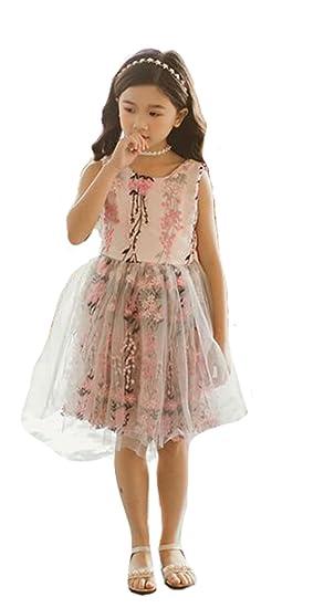 62fc24d1706c7 PIITE ガールズ ワンピース プリンセスドレス レースワンピース 夏 ノースリーブ フレアドレス 女の子 キッズ 子供服 お姫様