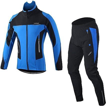 Men/'s Cycling Kit Long Sleeve Jersey Bib Pants Set Padded Long Legging Trousers