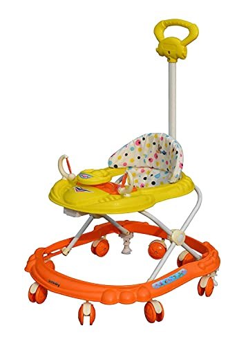 3. Sunbaby Hot Racer Musical Height Adjustable Baby Walker with Toys (Yellow with Orange)