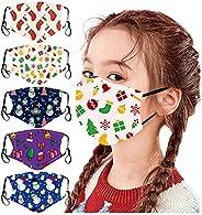 Jeeke 5Pcs Children's Face Bandanas Kids Washable Reusable Cute Printed Face Protection Boys Girls Stylish