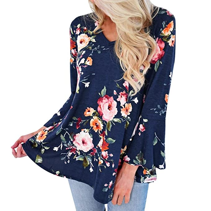 Amlaiworld Sommer Strand Oversized T Shirt Damen bunt Blumen drucken Bluse  Mode Tops Lässig übergroß Oberteile 2bdb6c6086