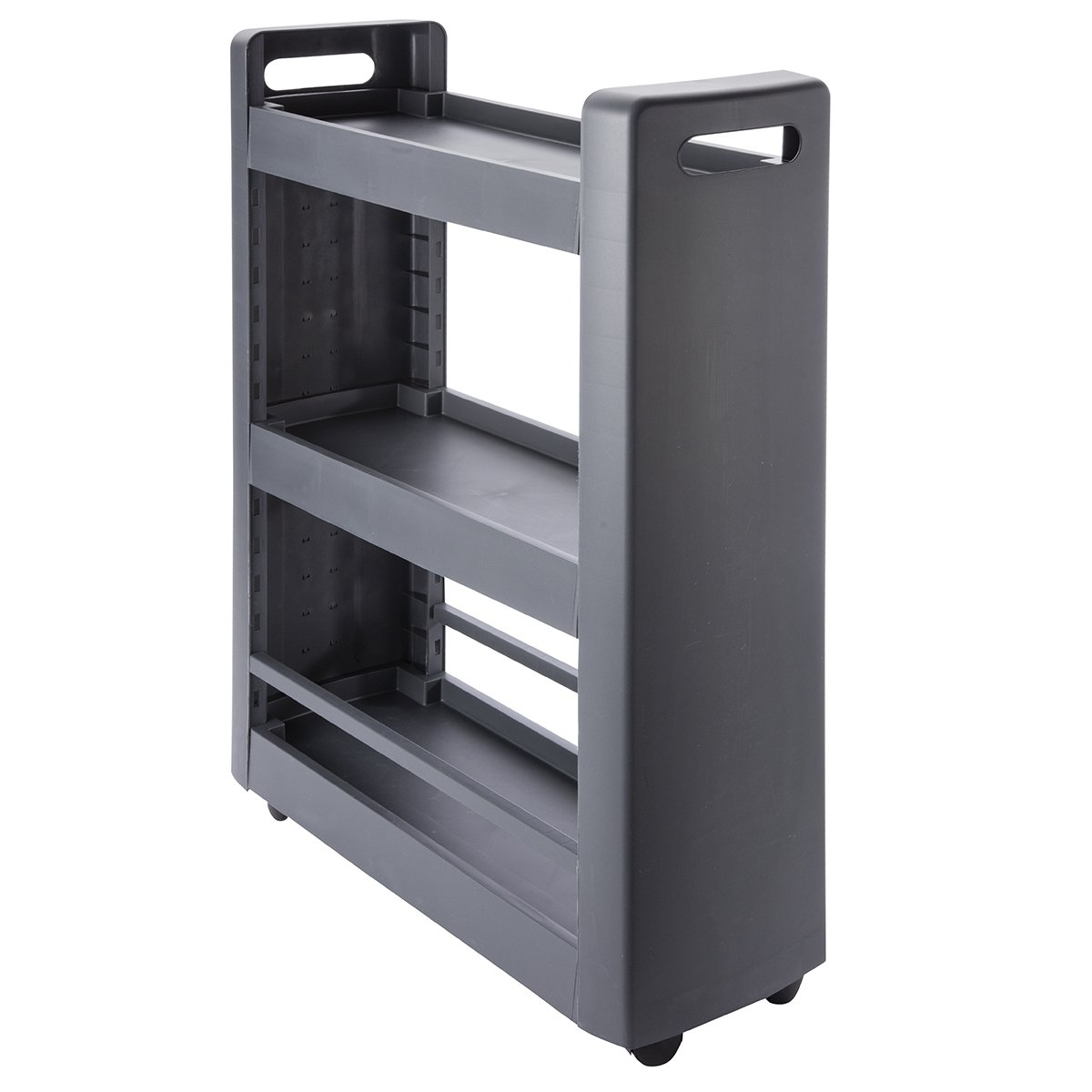 Desserte mobilo meuble de rangement modulable 3 étagères 4 roulettes coloris gris anthracite EDA Plastiques