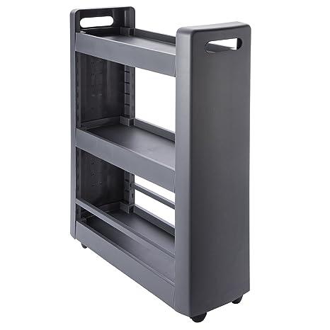 Mueble de estantería modulable para postres, 3 repisas, 4 ruedas, color gris antracita