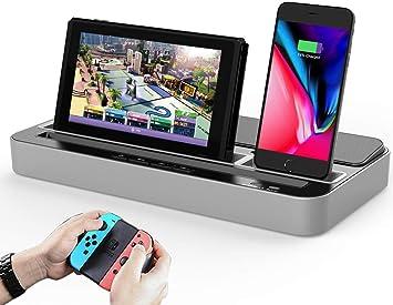 Dual Estación de Carga Acoplamiento y Estéreo Altavoz Speaker, Soporte de Cargador de Base de Audio con Micro y USB C Adaptador Compatible con Nintendo Switch, iPhone, iPad, Android Teléfono Tabletas: Amazon.es: