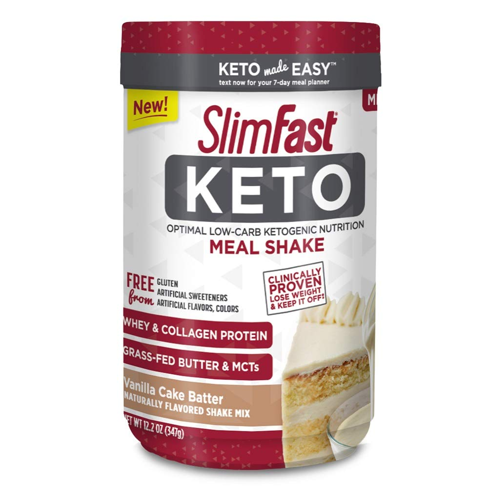 SlimFast Keto Meal Replacement Shake Powder, Vanilla Cake Batter, 12.2 Ounce, Pack of 1 by SlimFast