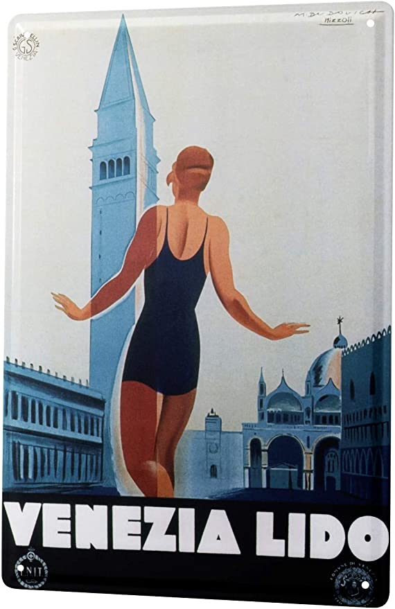 Amazon.com: Cartel de chapa Deco Ciudad Venice Lido Bañador ...