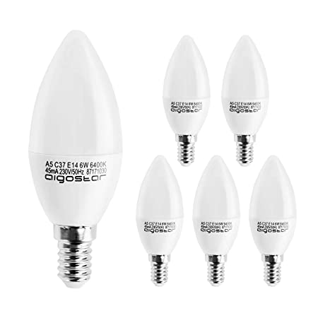 Aigostar - Pack de 5 Bombillas LED C37 vela, 6W, casquillo delgado ...