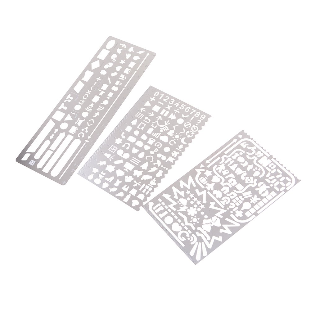 BESTIM INCUK 3 Pack Stainless Steel Drawing Templates Painting Stencils Scale Ruler for Bullet Journal, Planner, Scrapbooking, Card, Craft Projects