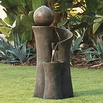 "John Timberland Modern Sphere Zen Outdoor Floor Water Fountain 39 1/2"" with LED Light for Exterior Garden Yard Lawn - 39 1/2"" high x 16 1/2"" wide x 18"" deep. Holds 5 to 6 gallons. Weighs 32 lbs. Modern Sphere Zen fountain with built-in light, by John Timberland. Can be used inside or outdoors. - patio, outdoor-decor, fountains - 61SHVeH%2BPFL. SS400  -"