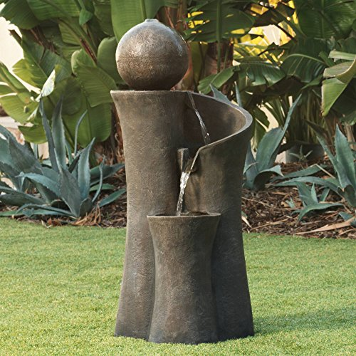 John Timberland Modern Sphere Zen Outdoor Floor Water Fountain 39 1/2