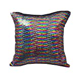Bifrost 16 x 16 inch Double Colors Reversible Sequin Mermaid Pillow Cover, Glitter Sofa Throw Cushion Case - Multi Colors